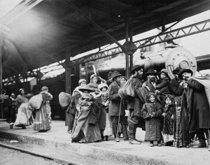 Immigrants taking train